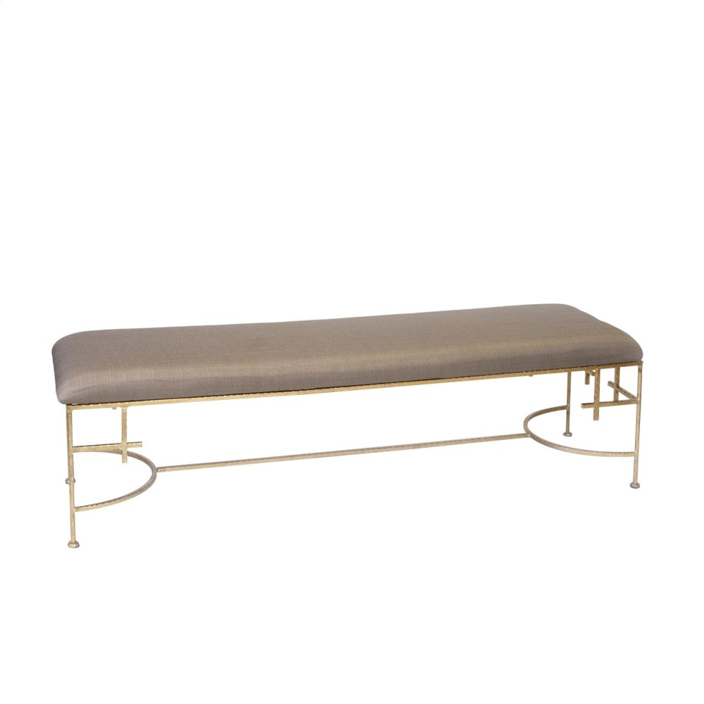 "60""l Hammered Gold Leaf Bench With Beige Linen Upholstery"