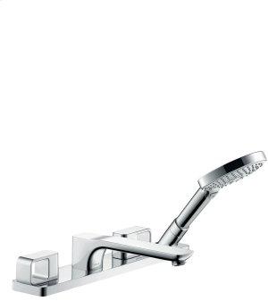 Chrome 4-hole tile mounted bath mixer Product Image