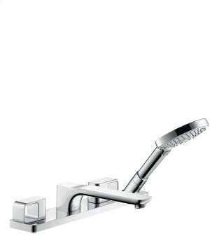 Chrome 4-hole tile mounted bath mixer Product Image