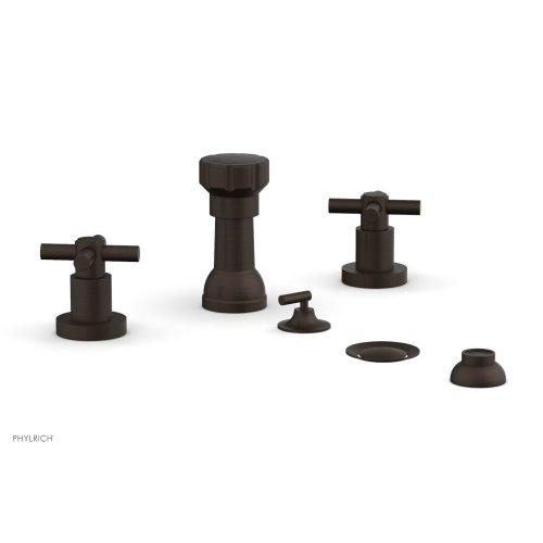 BASIC Four Hole Bidet Set - Tubular Cross Handles D4134 - Antique Bronze