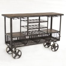 Industrial Teak Bar Trolley 60""