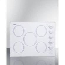 "27"" Wide 5-burner Radiant Cooktop Made In the USA In Smooth White Ceramic Glass Finish"