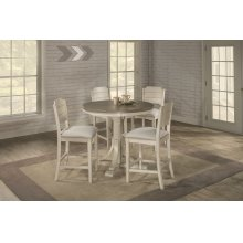 Clarion 5-piece Round Counter Height Dining Set With Open Back Stools - Distressed Gray Top With Sea