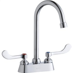 """Elkay 4"""" Centerset with Exposed Deck Faucet with 5"""" Gooseneck Spout 4"""" Wristblade Handles Chrome Product Image"""