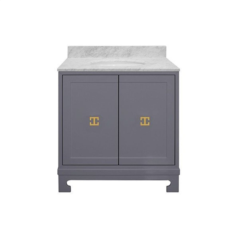 """Two Door Dark Grey Lacquer Bath Vanity With Gold Leaf Hardware and White Carrara Marble Top Features: - White Porcelain Sink Included - Optional White Carrara Marble Backsplash Included - for Use With 8"""" Widespread Faucet (not Included) -one Adjustable/removable Interior Shelf"""