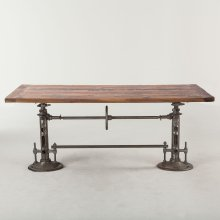 "Industrial Loft Adjustable Dining Table 82"" Walnut"