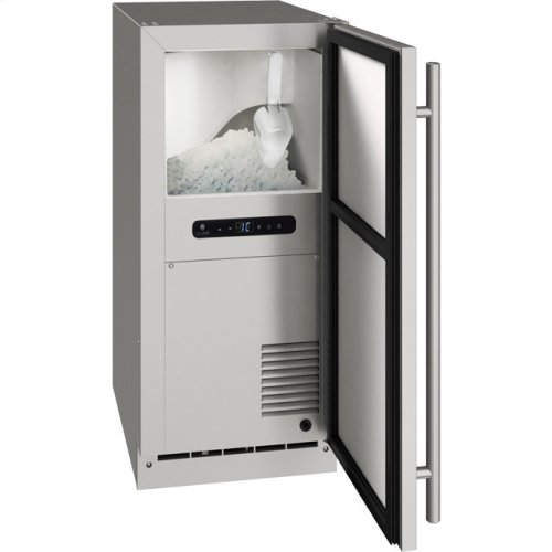 "Outdoor Collection 15"" Nugget Ice Machine With Stainless Solid Finish and Field Reversible Door Swing, Pump Included (115 Volts / 60 Hz)"