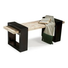 Fossil stone veneer seat and base frame over selected solid woods and wood products.