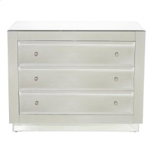 Beveled Mirror 3 Drawer Chest. All Drawers On Glides. Back Painted Gray.