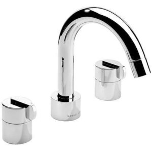 Satin Nickel (us15) 3 Hole widespread lavatory filler with swivel spout and pop-up waste