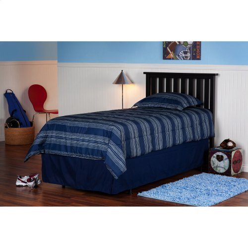 Belmont Wood Headboard Panel with Flat Top Rail and Slatted Grill Design, Black Finish, Twin-Floor Sample