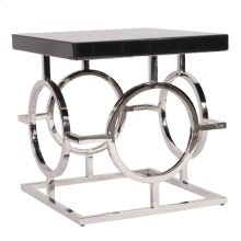 Stainless Steel End Table With Black Top