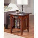 Mission End Table with Charger Walnut Product Image