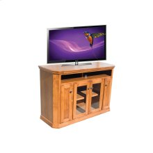 "O-TF293 Traditional Oak 56"" Clipped Corner TV Console"