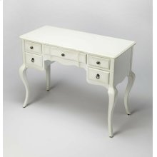 Use this elegant accent in the living room as a charming writing desk or center it under a mirror and pull up a stool for an alluring vanity. This desk features five drawers, brass hardware and cabriole legs and in a delightful white finish it goes with v