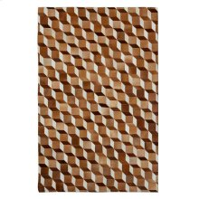 This hair on hide leather rug gives warmth to hardwood and marble floors. The tumble block pattern has a classic illusion in natural hide tones combining warm white, vanilla, and eggshell colors with diverse espresso, chocolate and bronze on opposing s