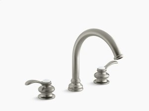 """Vibrant Brushed Nickel Deck-mount Bath Faucet Trim With Lever Handles and Traditional 8-7/8"""" Non-diverter Slip-fit Spout, Valve Not Included Product Image"""