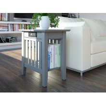 Mission Chair Side Table with Charger Atlantic Grey