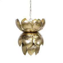 Metal Champagne Silver Leaf Pendant With Leaves
