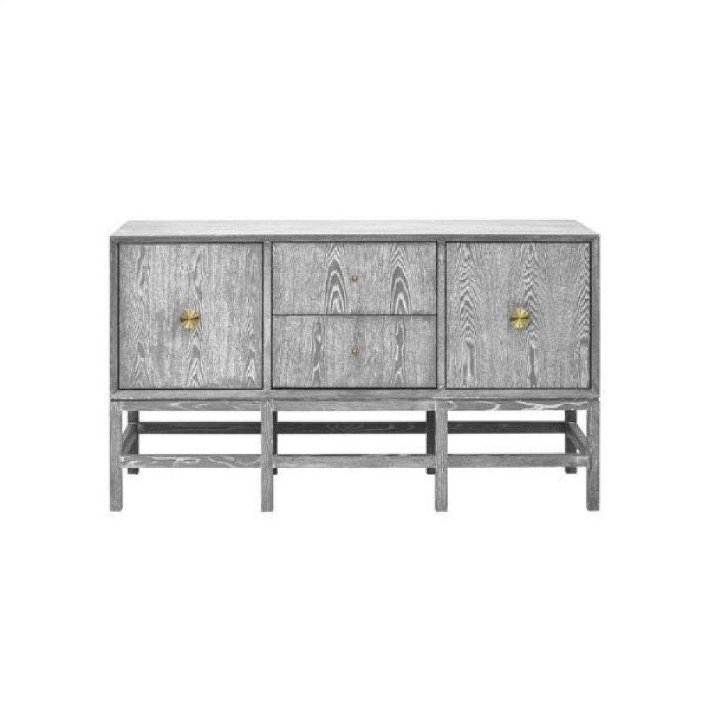 Buffet Cabinet In Grey Cerused Oak With Antique Brass Hardware.