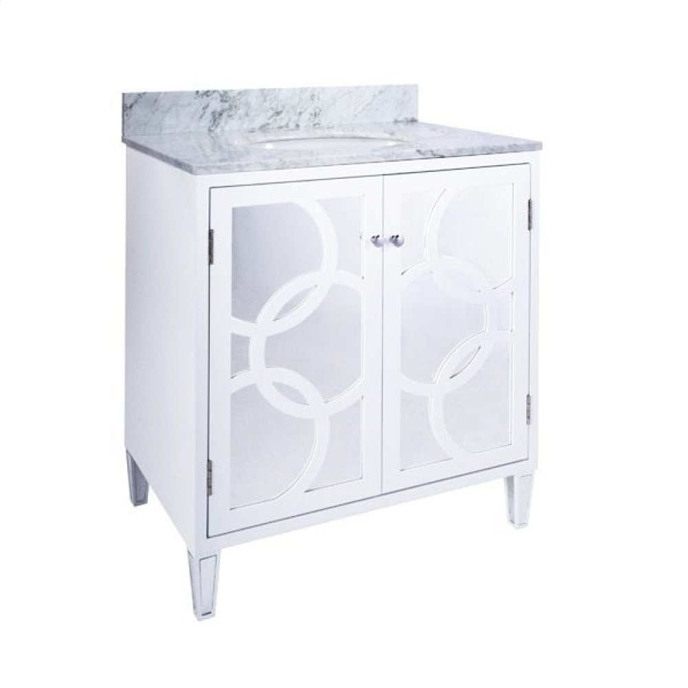 White Lacquer Bath Vanity With Overlapping Circle Detail On Mirror