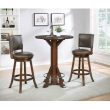 Rustic Chestnut Round Bar Table