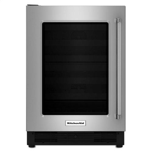 "24"" Undercounter Refrigerator with Glass Door Stainless Steel"
