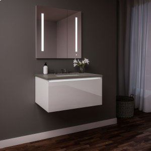 """Curated Cartesian 24"""" X 15"""" X 21"""" Single Drawer Vanity In White Glass With Slow-close Plumbing Drawer, Night Light and Engineered Stone 25"""" Vanity Top In Stone Gray (silestone Expo Grey) Product Image"""