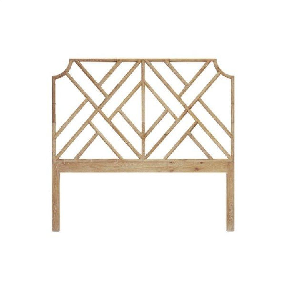 Chippendale Style Queen Bamboo Headboard In Cerused Oak