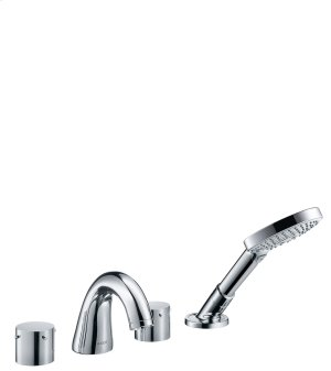 Chrome 4-hole rim mounted bath mixer with zero handles Product Image