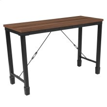 Rustic Walnut Finish Console Table with Industrial Style Steel Legs