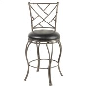 Honolulu Swivel Seat Counter Stool with Coffee Finished Metal Frame, Sculpted Legs and Black Faux Leather Upholstery, 26-Inch Seat Height Product Image