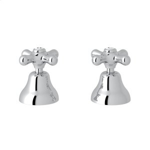 "Polished Chrome Verona Deck Mount Set of Hot & Cold 1/2"" Sidevalves with Cross Handles Product Image"