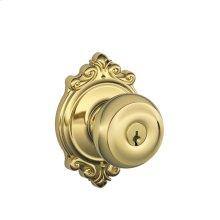 Georgian Knob with Brookshire trim Keyed Entry Lock - Bright Brass