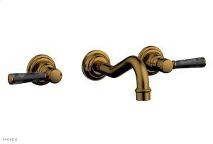 HENRI Wall Lavatory Set - Black Marble Lever Handels 161-13 - French Brass Product Image
