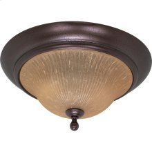 """2-Light 16"""" Copper Bronze Flush Mount Ceiling Light Fixture with Champagne Linen Washed Glass"""