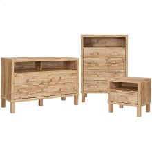 3 Piece Dresser, Chest of Drawers and Nightstand Set in Rustic Oak Finish