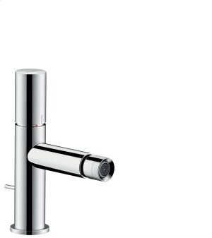 Chrome Single lever bidet mixer with zero handle and pop-up waste set Product Image