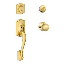 Camelot Single Cylinder Handleset and Plymouth Knob - Bright Brass