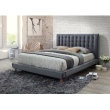 Newport Gray Tufted Upholstered Queen Bed