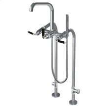7053cb - Floor Mount Tub Filler With Hand Shower and Shut-off Valves (pair) in Polished Chrome
