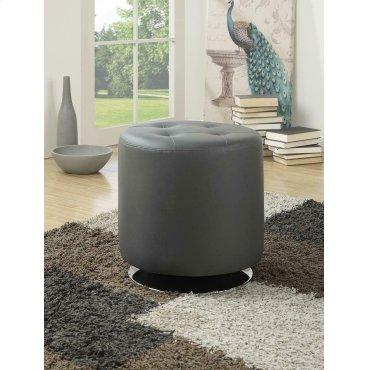 Contemporary Grey Round Ottoman