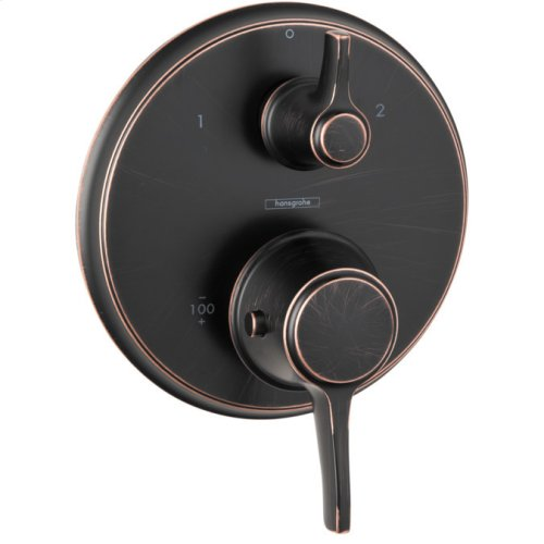 Rubbed Bronze Thermostatic Trim with Volume Control and Diverter, Round