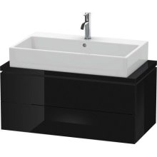 L-cube Vanity Unit For Console Compact, Black High Gloss (lacquer)