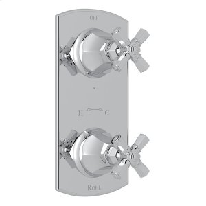 """Polished Chrome Palladian 1/2"""" Thermostatic/Diverter Control Trim with Cross Handle Product Image"""