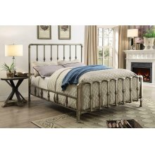 Micah Champagne Metal King Bed With Mold-casted Ornaments