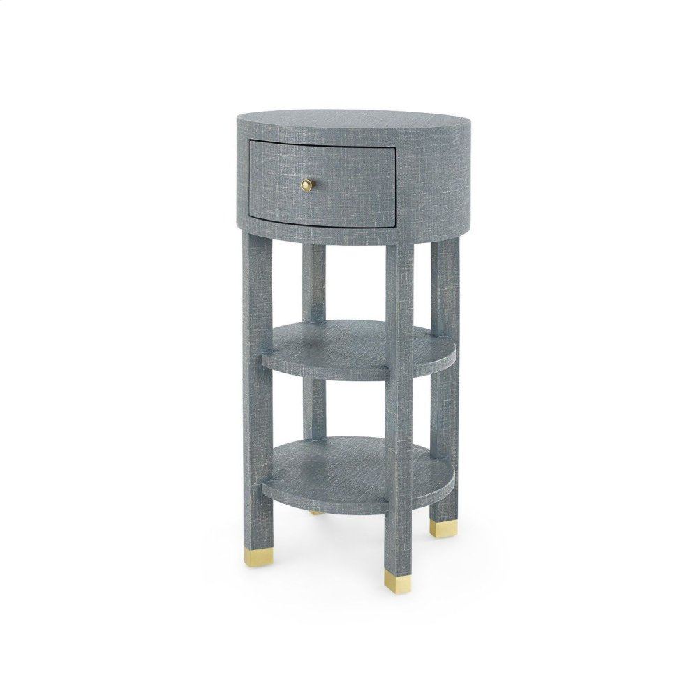Claudette 1-Drawer Round Side Table, Gray