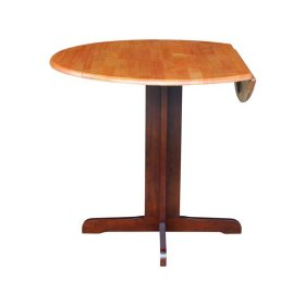 Round Dropleaf Pedestal Table in Cinnamon & Espresso