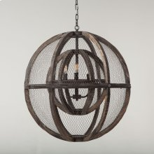 Luminaire Wire and Wood Globe Chandelier