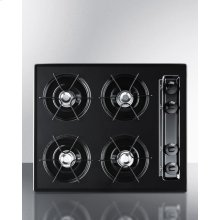 "24"" Wide Cooktop In Black, With Four Burners and Battery Start Ignition"
